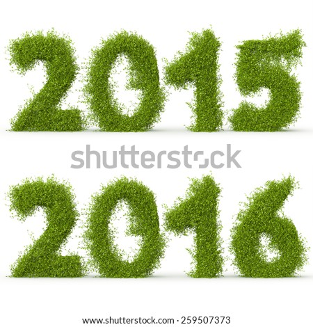 3d decorative nature numbers 2015 and 2016 - stock photo