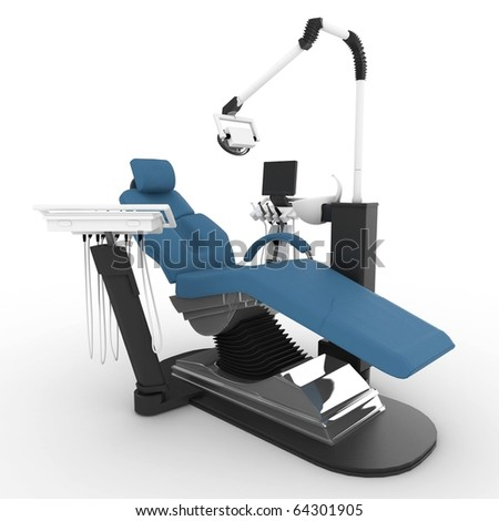 3d dentist chair isolated on white - stock photo