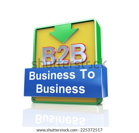 3d design illustration presentation of arrow banner of b2b - business to business - stock photo