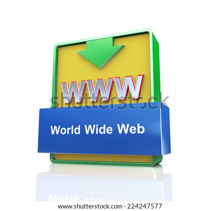 3d design illustration presentation of arrow banner of www -  world wide web - stock photo