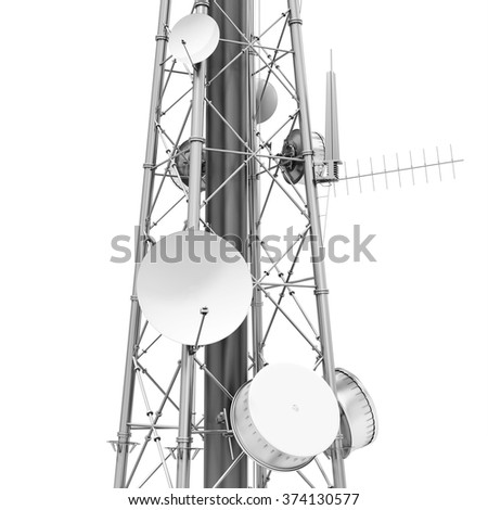 3d detailed communication tower, wireless equipment on white background - stock photo
