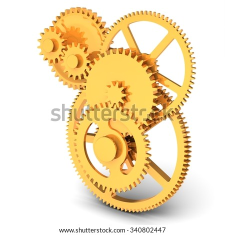 3d detailed golden metallic gears on white background - stock photo
