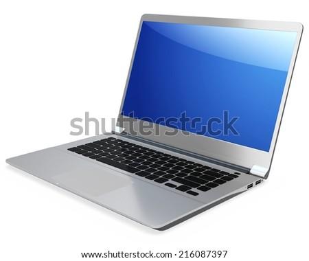 3d detailed laptop on white background - stock photo
