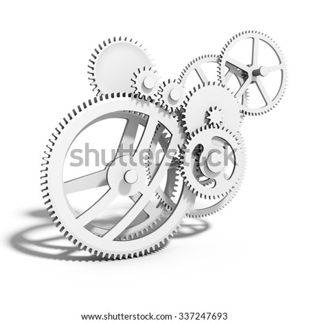 3d detailed metallic gears on white background - stock photo