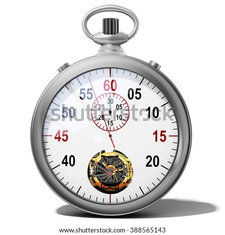 3d detailed stopwatch on white background - stock photo