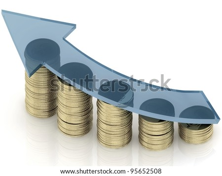 3d diagram of golden coins with a arrow on a white background - stock photo
