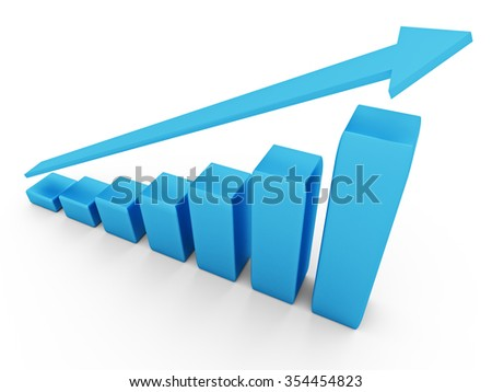 3d diagram with the growing progress. Business concepts - stock photo