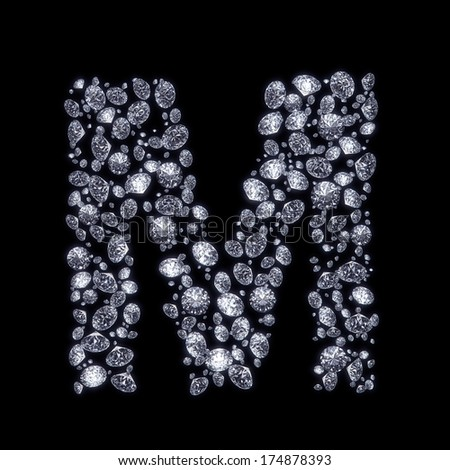U Alphabet In Diamond 3D Diamond letter M on black isolated with clipping path - stock photo