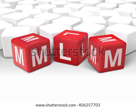 3d dice with word MLM Multi Level Marketing on white background - stock photo