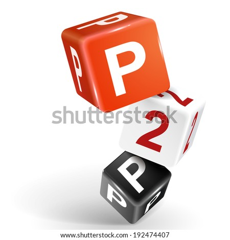 3d dice with word P2P peer to peer on white background - stock photo