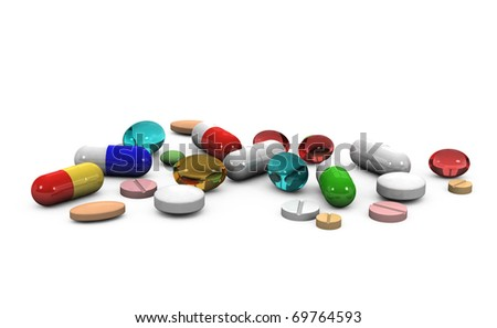 3d different tablets and pills on a white background - stock photo