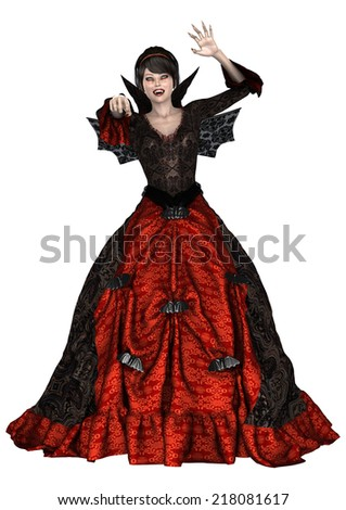 3D digital render of a beautiful fantasy lady vamp in a red and black dress with wings isolated on white background - stock photo