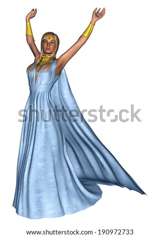 3D digital render of a beautiful female mage in a blue dress isolated on white background - stock photo