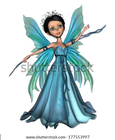 3D digital render of a beautiful flying little fairy butterfly isolated on white background - stock photo