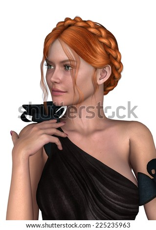 3D digital render of a beautiful girl with red hair wearing a party dress isolated on white background - stock photo