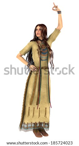 3D digital render of a beautiful native American young woman dancing in a traditional clothing isolated on white background - stock photo