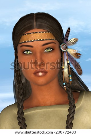 3D digital render of a beautiful native American young woman on a blue sky background - stock photo
