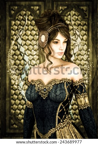 3D digital render of a beautiful princess on a fairytale castle background, painting effect - stock photo