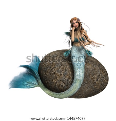 3D digital render of a beautiful sad mermaid sitting on a stone isolated on white background - stock photo