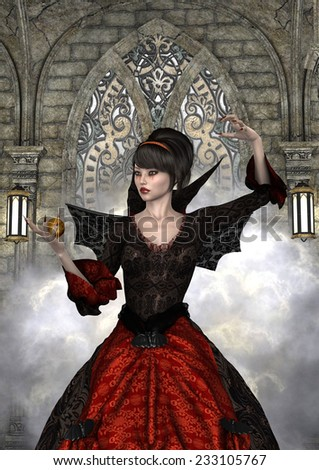 3D digital render of a beautiful witch on a magic fairytale castle background - stock photo