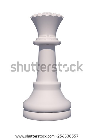 3D digital render of a chess piece white queen isolated on white background - stock photo