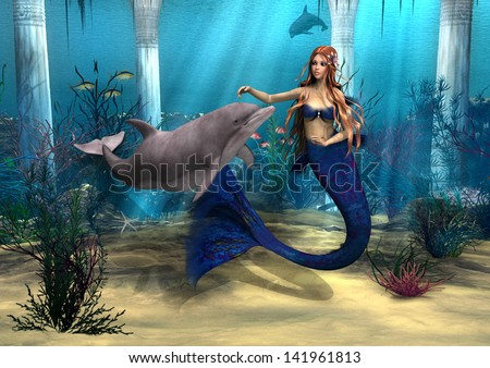 3D digital render of a cute mermaid and dolphin on blue fantasy ocean background - stock photo