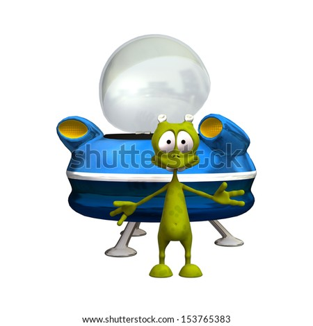3D digital render of a cute smiling alien and a blue space saucer isolated on white background - stock photo