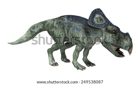 3D digital render of a dinosaur protoceratops looking down isolated on white background - stock photo