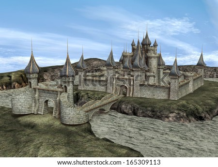 3D digital render of a fairytale castle on blue sky background - stock photo