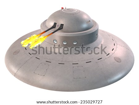 3D digital render of a fantasy spaceship on white background - stock photo