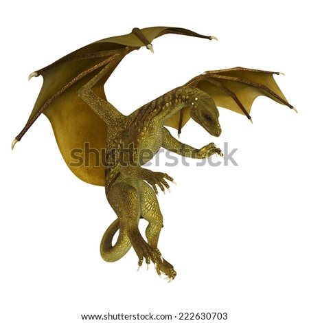 3D digital render of a golden fantasy dragon isolated on white background - stock photo