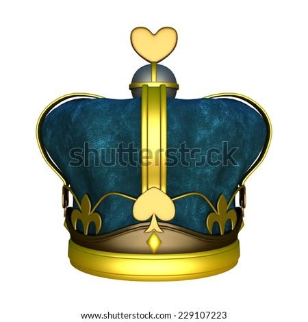3D digital render of a golden kings crown isolated on a white background - stock photo