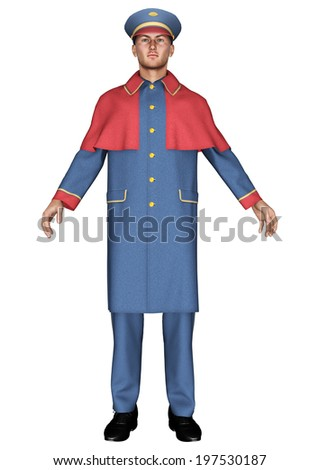 3D digital render of a hotel doorman isolated on white background - stock photo