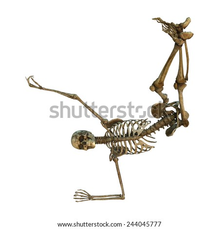 3D digital render of a human dancing skeleton isolated on white background - stock photo