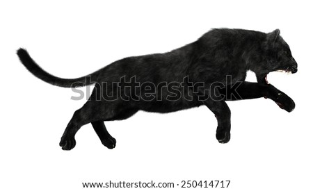 3D digital render of a hunting black panther isolated on white background - stock photo