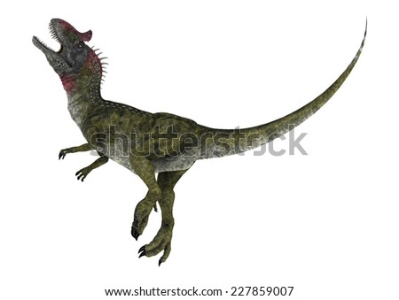 3D digital render of a knocked dinosaur Cryolophosaurus isolated on white background - stock photo