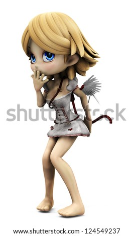 3D digital render of a lovely cartoon cupid girl on white background. - stock photo