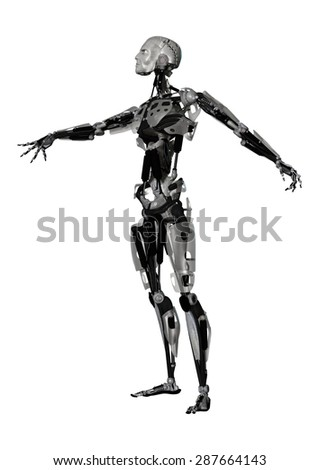 3D digital render of a male cyborg isolated on white background - stock photo