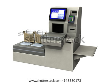 3D digital render of a quick check lane isolated on white background - stock photo