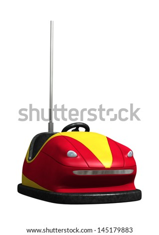 3D digital render of a red bumper car isolated on white background - stock photo