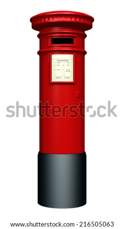 3D digital render of a red pillar mailbox isolated on white background - stock photo