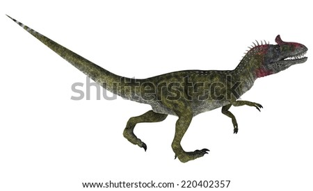 3D digital render of a running dinosaur Cryolophosaurus isolated on white background - stock photo