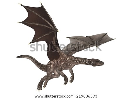 3D digital render of a soaring fantasy dragon isolated on white background - stock photo