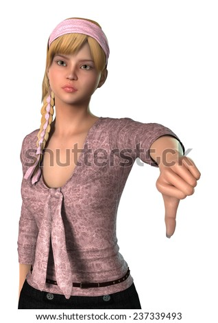 3D digital render of a teen girl showing thumb down sign isolated on white background - stock photo