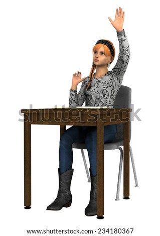 3D digital render of a teen girl sitting at a school desk and raising her hand to answer question isolated on white background - stock photo
