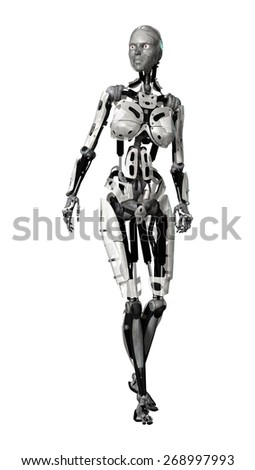 3D digital render of a walking female cyborg isolated on white background - stock photo