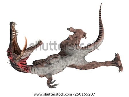3D digital render of a wounded dinosaur Spinosaurus isolated on white background - stock photo