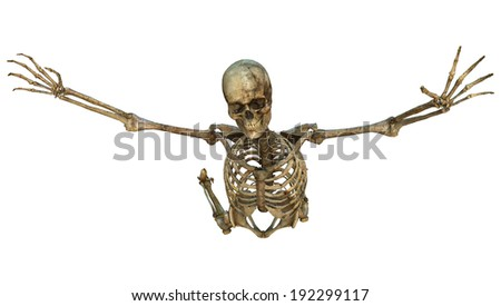 3D digital render of an old flying human skeleton isolated on white background - stock photo
