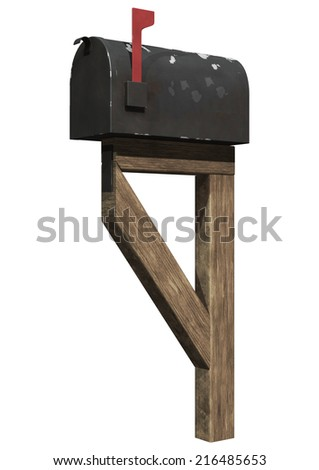 3D digital render of an old residential mailbox isolated on white background - stock photo