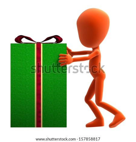 3D digital render of an orange little guy delivering a big package gift isolated on white background - stock photo
